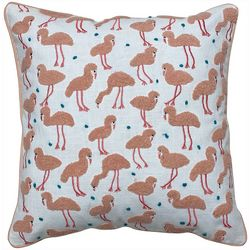 Satvik Flock Of Flamingos Embroidered Decorative Pillow