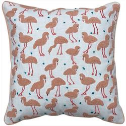 Flock Of Flamingos Embroidered Decorative Pillow