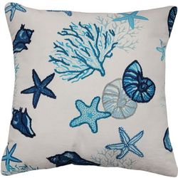 Cosmic Coral Shell Embroidered Decorative Pillow