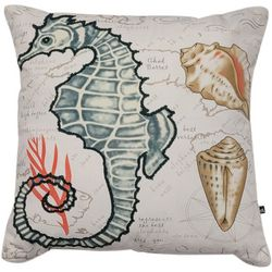 Cosmic Seas The Day Seahorse Seashell Decorative Pillow