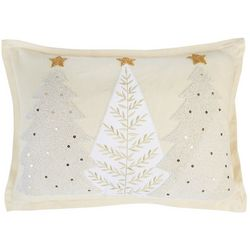 Triple Christmas Tree Embroidered Pillow
