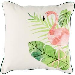 Flamingo Palm Leaf Decorative Pillow
