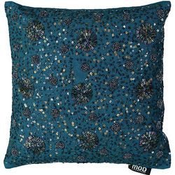 Mod Lifestyles Blue Collection Swirl Sequins Beaded Pillow