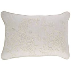 Mod Lifestyles Floral Scroll Embroidered Decorative Pillow