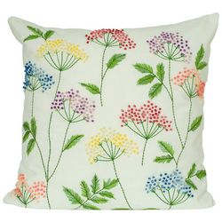 Floral Embroidery Decorative Pillow