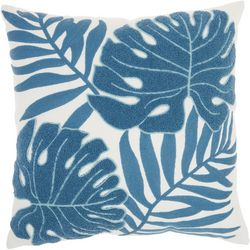 Palm Leaf Embroidered Decorative Pillow