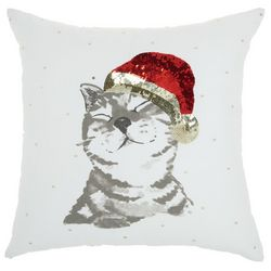 Cat & Sequin Santa Hat Decorative Pillow
