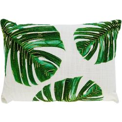 Victoria Classics Palm Leaves Beaded Decorative Pillow
