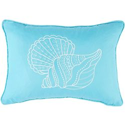 Coastal Home Coral Acres Embroidered Shell Decorative Pillow