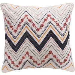 Levtex Home Embroidered Chevron Floral Decorative Pillow