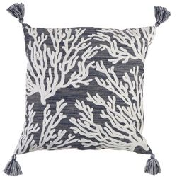 Beach Bungalo Ocean Isle Reef Crewel Decorative Pillow