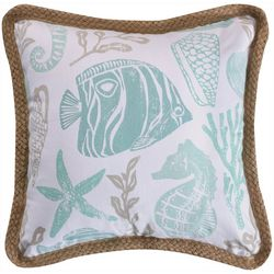 Coastal Print Rope Trim Decorative Pillow