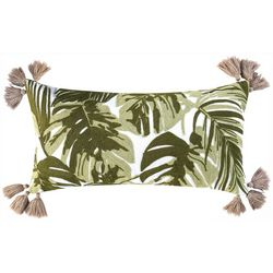 Saltwater Home Stiched Tropical Leaves Decorative Pillow