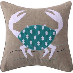 Crab Burlap Decorative Pillow