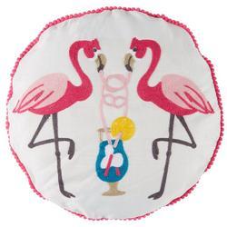Flamingo Drink Round Decorative Pillow