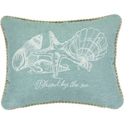 Saltwater Home Blessed By The Sea Shell Decorative Pillow