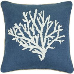 Saltwater Home Embroidered Coral Decorative Pillow