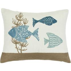 Embroidered Fish Trio Decorative Pillow