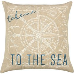 Saltwater Home Embroidered To The Sea Decorative Pillow