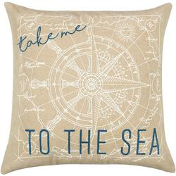 Embroidered To The Sea Decorative Pillow