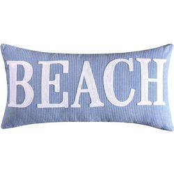 Saltwater Home Blue Beach Embroidered Decorative Pillow
