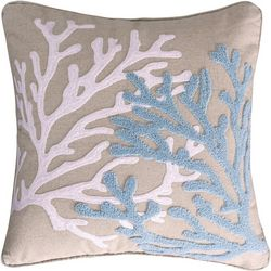Saltwater Home Embroidered Duo Coral Decorative Pillow
