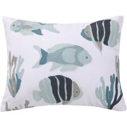 Fish Reef Embroidered Decorative Pillow