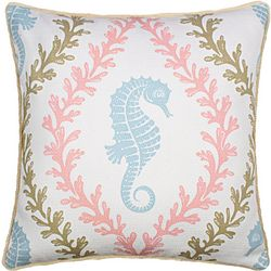 Saltwater Home Seahorse & Reefs Decorative Pillow