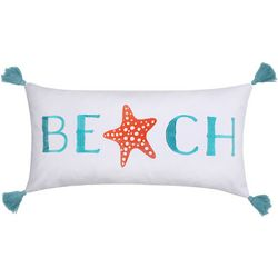 Saltwater Home Embroidered Beach Starfish Decorative Pillow