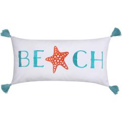 Embroidered Beach Starfish Decorative Pillow