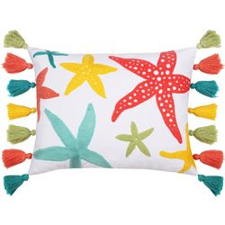 Saltwater Home Embroidered Starfish Tassel Decorative Pillow