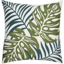 Saltwater Home Monte Verde Leaves Crewel Decorative Pillow