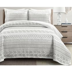 Lush Home Geometric Stripe Quilt Set