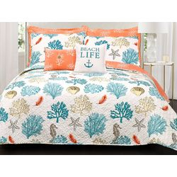 Triangle Home Fashions Coastal Reef Feather Quilt Set