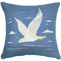 Seaside Resort Embroidered Seagull Decorative Pillow