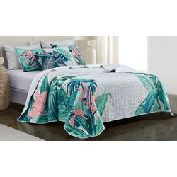 Red Pineapple Rio Palms Quilt Set