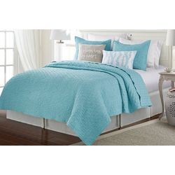 Red Pineapple Aqua Haze Crinkle Quilt Set