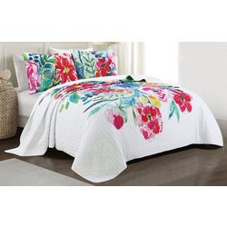 Red Pineapple Bold Blooms Quilt Set
