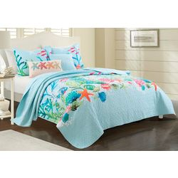Red Pineapple Aqua Sealife Quilt Set