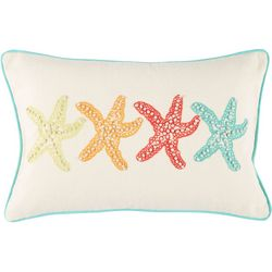 Aqua Sealife Starfish Knots Decorative Pillow