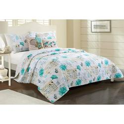 3-pc. Jasmine Script Quilt Set