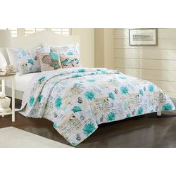 Coastal Home 3-pc. Jasmine Script Quilt Set