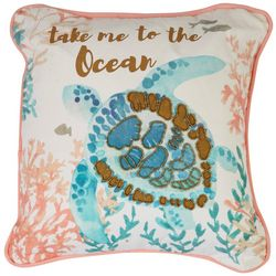Red Pineapple Take Me To The Ocean Turtle Decorative Pillow