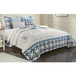 Coastal Home Shell Script Quilt Set