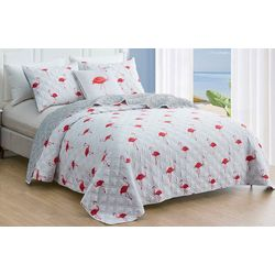 Red Pineapple Flamingo Island Quilt Set