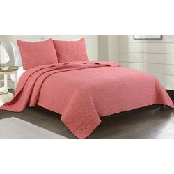 Coastal Home Coral Crinkle Quilt Set