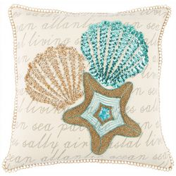 Coastal Home Jasmine Script Starfish Decorative Pillow