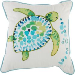 Coastal Home Embroidered Watercolor Turtle Decorative Pillow