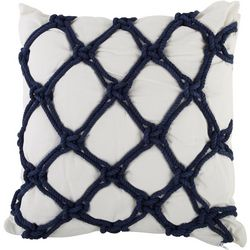 Coastal Home Embroidered Twisted Rope Decorative Pillow