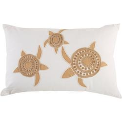 Jute Sea Turtle Embroidered Decorative Pillow
